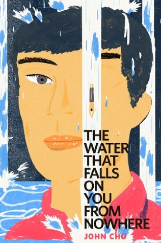 The book cover for 'The Water that Falls on You from Nowhere'. A slightly abstract Chinese man's face stares at the camera, but one eye is distorted by a stream of water. The eye is being pulled down in the water and looks more like a pen. Behind him, more water is rising.