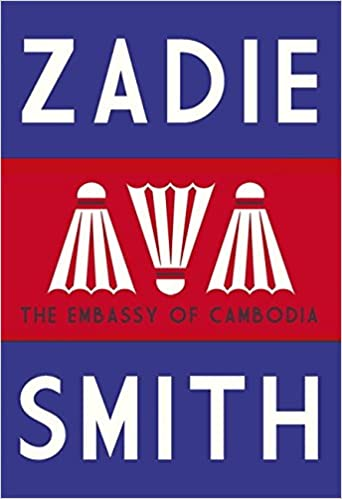 The Embassy of Cambodia book cover. A blue and red striped background, with three shuttlecocks in the centre.