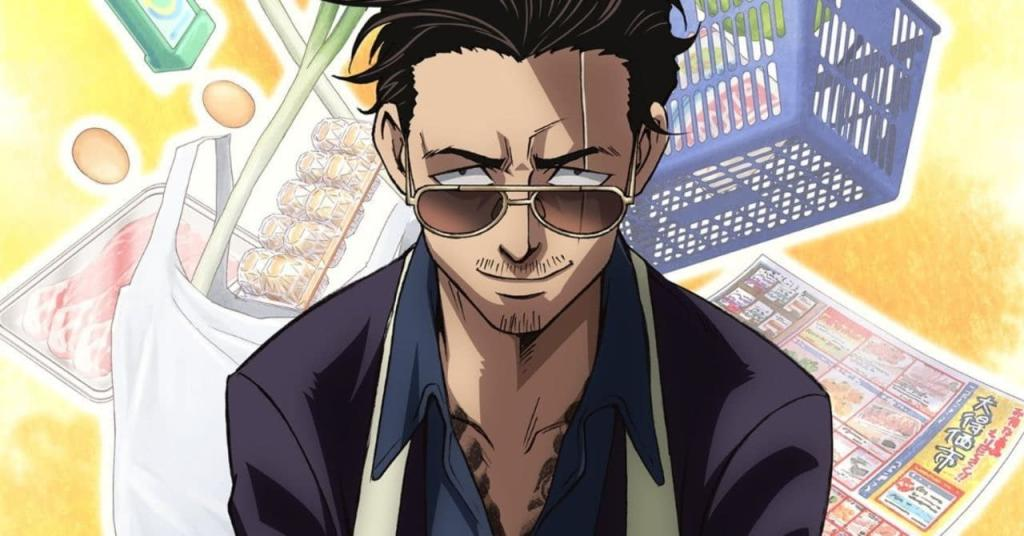 Tatsu is smiling at the camera with his eyebrows furrowed, eyes just visible over his shades. Behind him is an amalgamation of grocery shopping images including a basket, eggs and a magazine. The image pops on a yellow background.