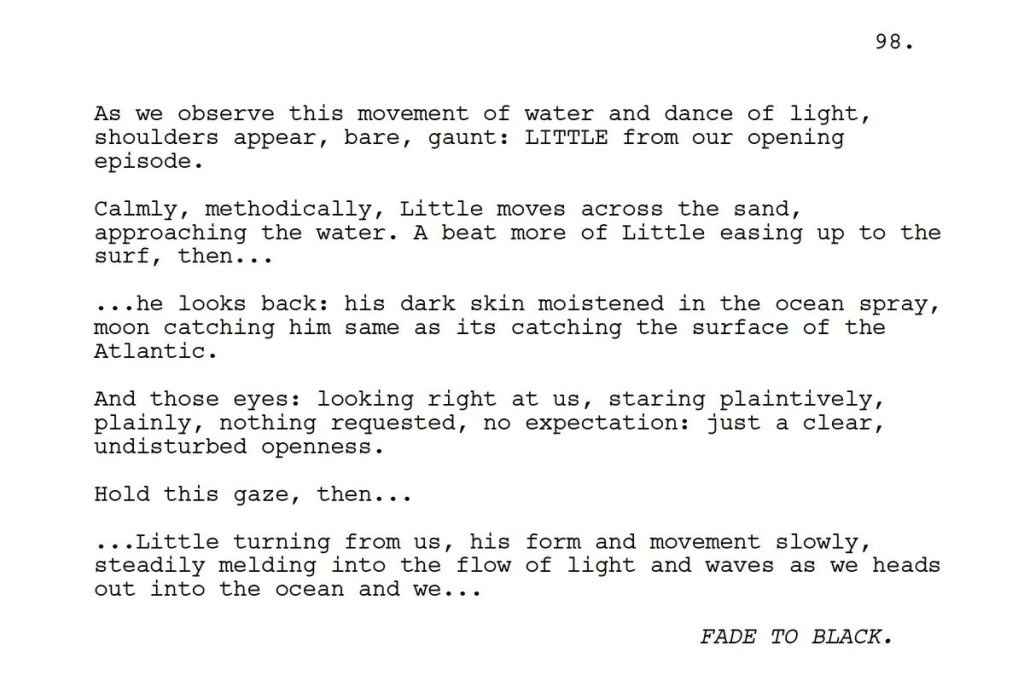 An excerpt from the Moonlight script - we see how much descriptive text is included.