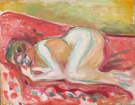 Munch's 'Crouching Nude'. An impressionist paining of a nude woman, painted in bold strokes of green and red.