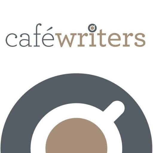 The Café Writers official logo. A cup of tea in a white teacup on a grey saucer is half visible. Above the teacup 'Café Writers' is written in lowercase font. 'Café' is written in grey and 'writers' is written in bold brown front with the dot above the 'i' replaced with a small teacup.