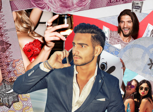 A collage of pictures intended to show a rich, illustrious lifestyle. We can see paper money, sunglasses, wine, girls in the sun smilling. In the middle is a cutout of a man in a posh blue suit and half buttoned white shirt. He is holding a phone to his ear and looking off into the distance.
