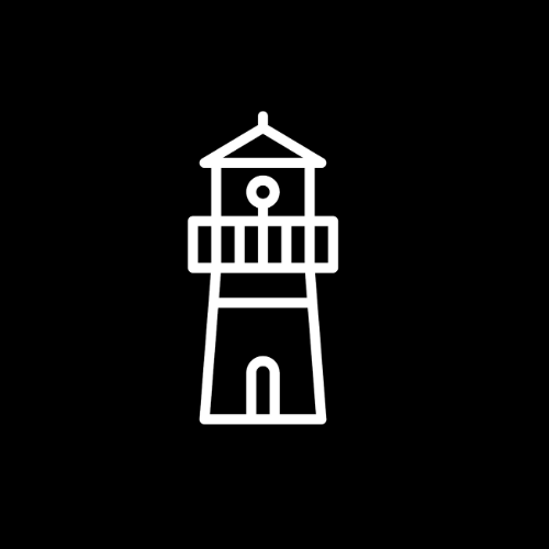 The Signal House Edition logo. A white line drawing of a lighthouse-esque building on a plain black background