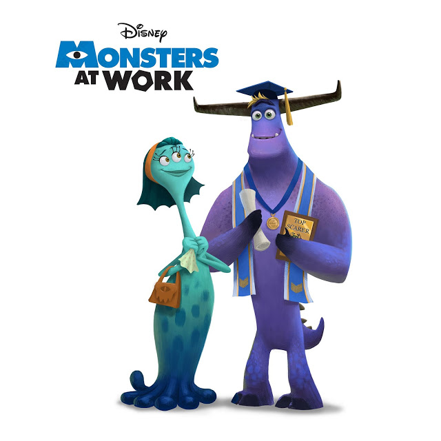 A promotional image for Monsters at Work. The background is white. Tyler Tuskman, a tall purple monster with large horns, is wearing the Valedictorian ribbon and graduation cap and holding his degree certificate. He looks very proud and slightly bemused. His mother is smiling at him and clutching a tissue in her hands.