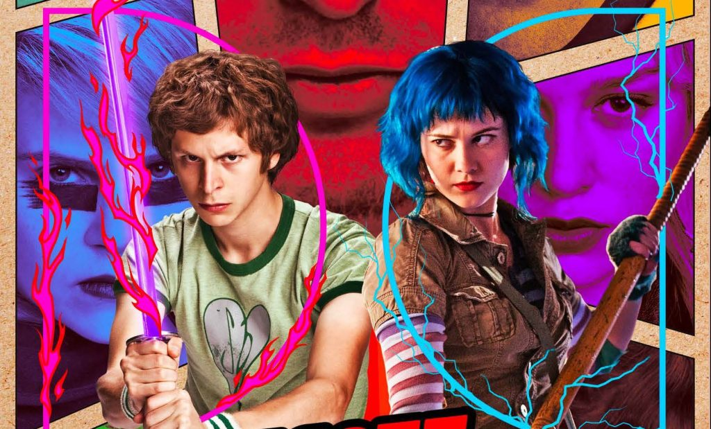Scott Pilgrim (a white man with tousled mousey hair) and Ramona Flowers (a white woman with a choppy blue bob) wield weapons menacingly. Scott's image is overlaid with strips of pink fire, and Ramona's is overlaid with blue lightning. They look like they mean business.