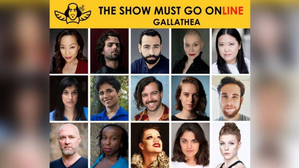 At the top of the image, there is a banner which reads 'The Show Must Go Online. Gallathea', along with their snazzy logo: an outline of Shakespeare's face with wings beneath, and 3 arrows in his side. Below the banner, there are headshots of 15 people - the cast and creatives. They're either smiling, or giving their best 'serious actor headshot' faces.