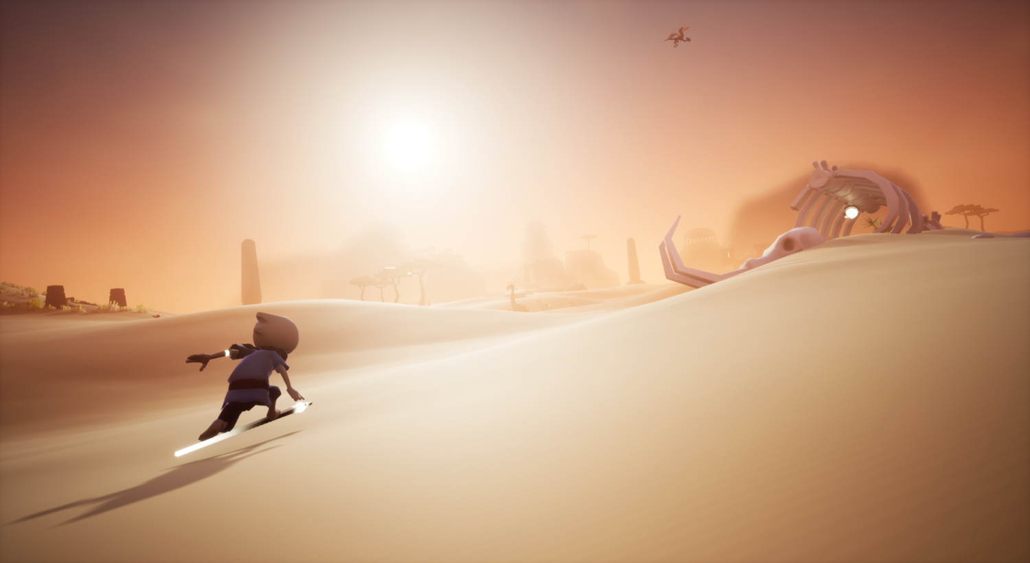 A still from the Omno game. The main character is surfing across a sand dune. There is a huge skeleton in the distance. The scene is lit in bright warm light, making the desert setting clear.