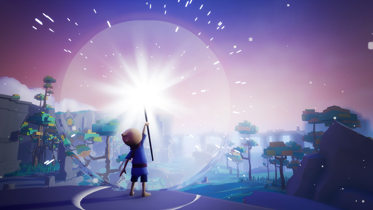 A still from the Omno game. The main character, a stylised figure in blue, is holding up a magic staff. The staff is emitting bright light and a big circular pulse of energy. There are trees and rocks in the distance.