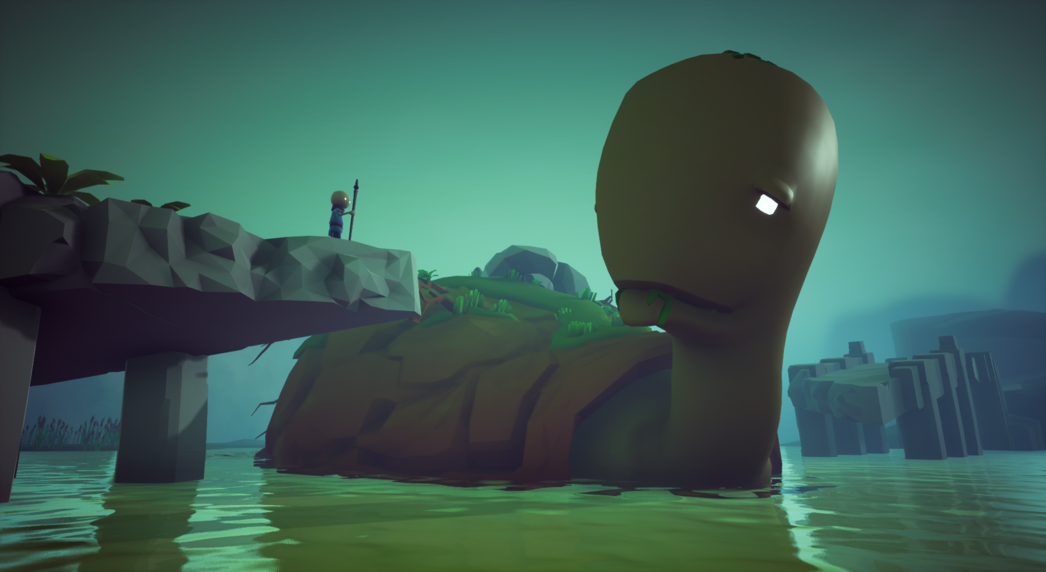 A still from the Omno game. The main character stands on a rocky overhang above a lake. There is an enormous turtle in the water who they appear to be conversing with.