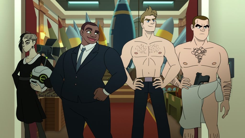 Twink, Deb, Steve and Buck stand in a doorway. Twink is clutching a robot head. Deb is looking pleased with herself in a navy blue suit. Steve is topless, hands on hips in a power pose. Buck looks like a bit of a mess, wearing just a jumper wrapped around his waist and a gun tucked into the front.