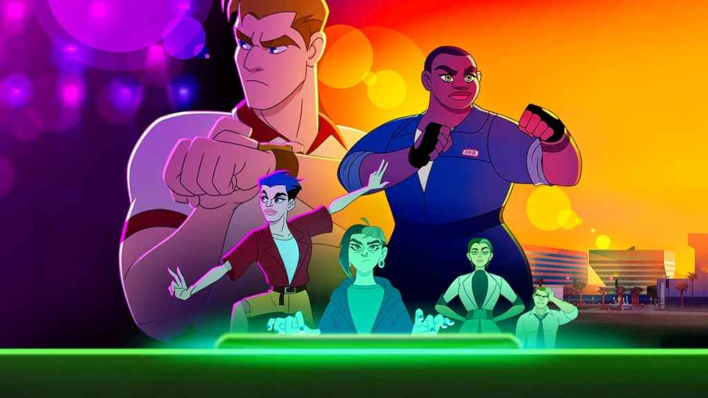 The characters from Q-Force all pose, looking off determined into the distance. They radiate super spy energy, on a mission to change the status quo. The background is purpple and orange and green light glows up from the bottom.