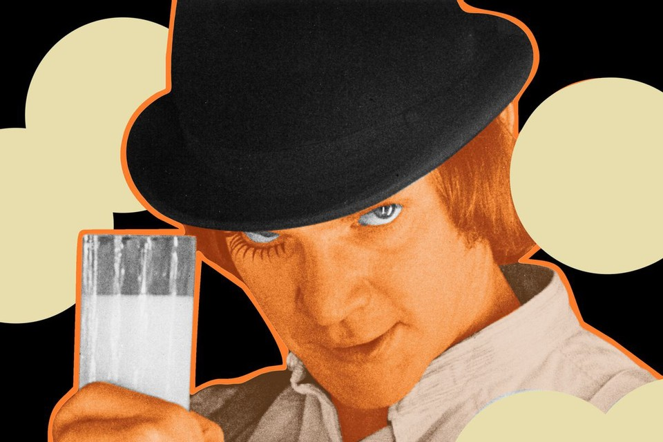 A artistic representation of a still from the film A Clockwork Orange. The character Alex stares intensely at the camera, wearing a black bowler hat, his long eyelashes stylised and black. He holds up a glass of milk. A slightly disturbing image.